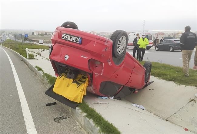 Ambulans otomobile çarptı, kaza ucuz atlatıldı