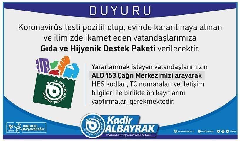 Büyükşehir Belediyesi Kovid-19 Karantinasına Alınan Vatandaşların Yanında
